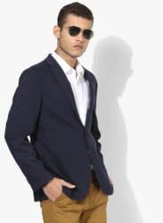 Navy Blue Solid Blazer