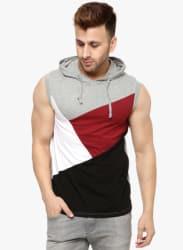 Grey Melange Solid Hooded T Shirt
