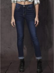 Blue Washed Slim Fit Mid Rise Jeans