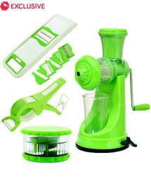 PREMILLIA Premium Plastic Kitchen Tools Combo of Manual Juicer + 6 in 1 Slicer + Multi Crusher and Vegetable Cutter & Peeler