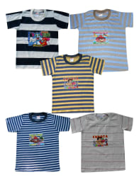 Awesome Kidz Pack of 5 Striped Round Neck Tshirt