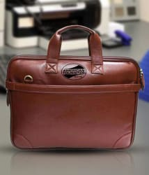 American Tourister PU Leather Black Office Laptop Bag