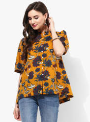 Mandarin Collar Floral Printed Cotton Shirt With Updated Elbow Sleeves