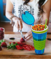 Frappel Snakeez (Cup with Snack bowl) Dishwasher Safe for Hiking & Camping