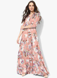 Peach Multicoloured Printed Maxi Dress