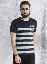 Navy Blue Striped Regular Fit Round Neck T-Shirt