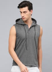 Charcoal Grey Solid Hooded T Shirt