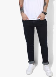 Navy Blue Solid Low Rise Skinny Fit Jeans