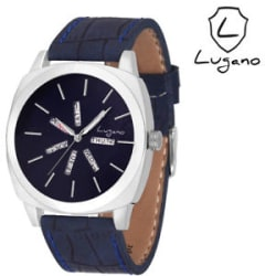 Details about Lugano Men s Leather Strap Blue Analog Watch (LG 1043)