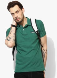 Green Solid Regular Fit Polo T-Shirt