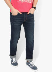 Navy Blue Washed Regular Fit Jeans