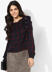 Navy Blue Checked Blouse