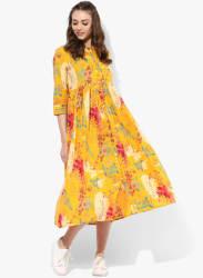 Mandarin Collar Printed Skater Dress With 3/4Th Sleeves