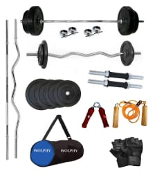 WOLPHY 40 Kg Home Gym with dumbbells rods, 1 3ft curl rod, 1 5 ft straight rod & free duffle gym bag