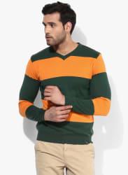 Orange Striped V Neck Sweater