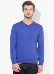 Blue Solid V Neck Sweater