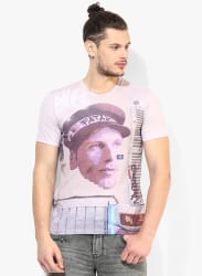 Pink Printed Round Neck T-Shirt