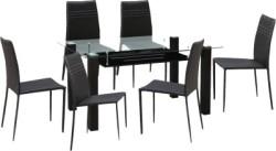 HomeTown Presto Glass 6 Seater Dining Set (Finish Color - Dark Brown)