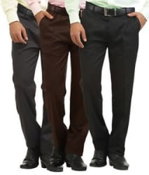 Details about Inspire Pack Of 3 Men s Formal Trousers (Black, Coffee & Gray)