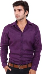 Deeksha Men s Solid Casual Purple Shirt