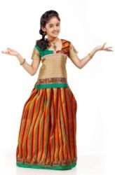 Kanakadara Self Design Girls (Beige, Multicolor, Size: 8 - 9 Years)