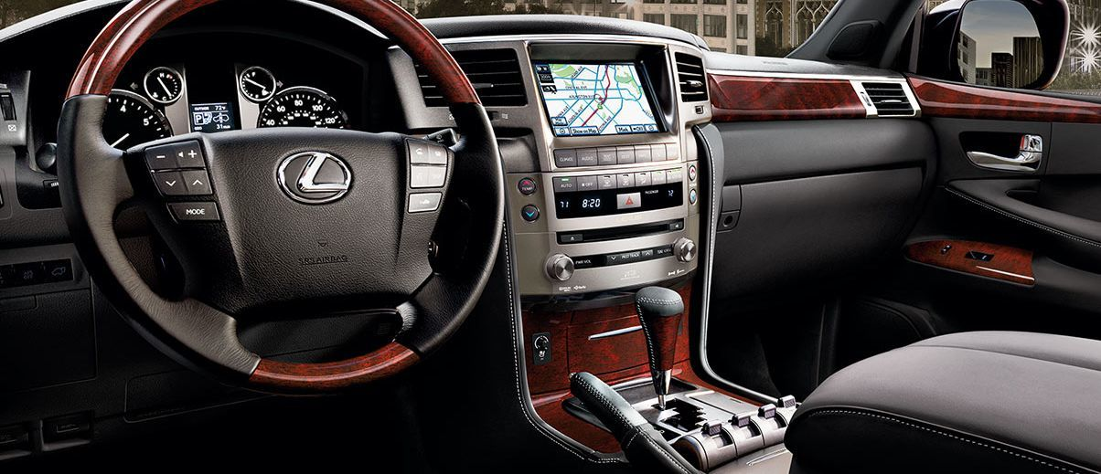 2015 Lexus LX Interior with Leather-Wrapped Steering Wheel and Navigation System