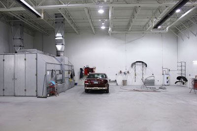 Crown Toyota Lawrence Body Shop Paint Prep Area