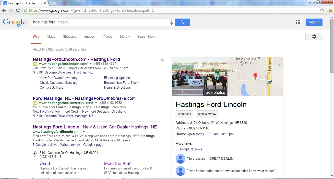 google reviews hastings ford lincoln