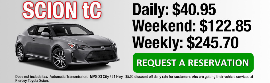 Rent a Toyota Scion tC from Piercey Toyota in Milpitas