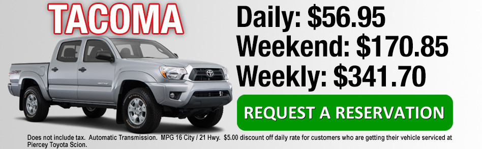 Rent a Toyota Tacoma from Piercey Toyota in Milpitas