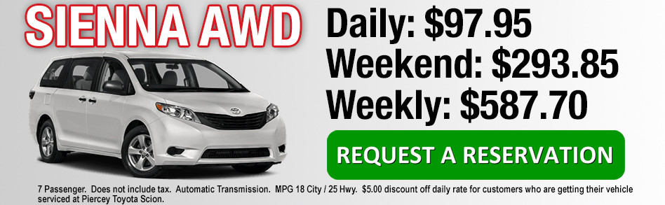 Rent a Toyota Sienna AWD from Piercey Toyota in Milpitas San Jose