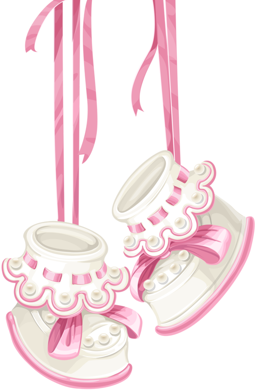 Pink baby booties clipart