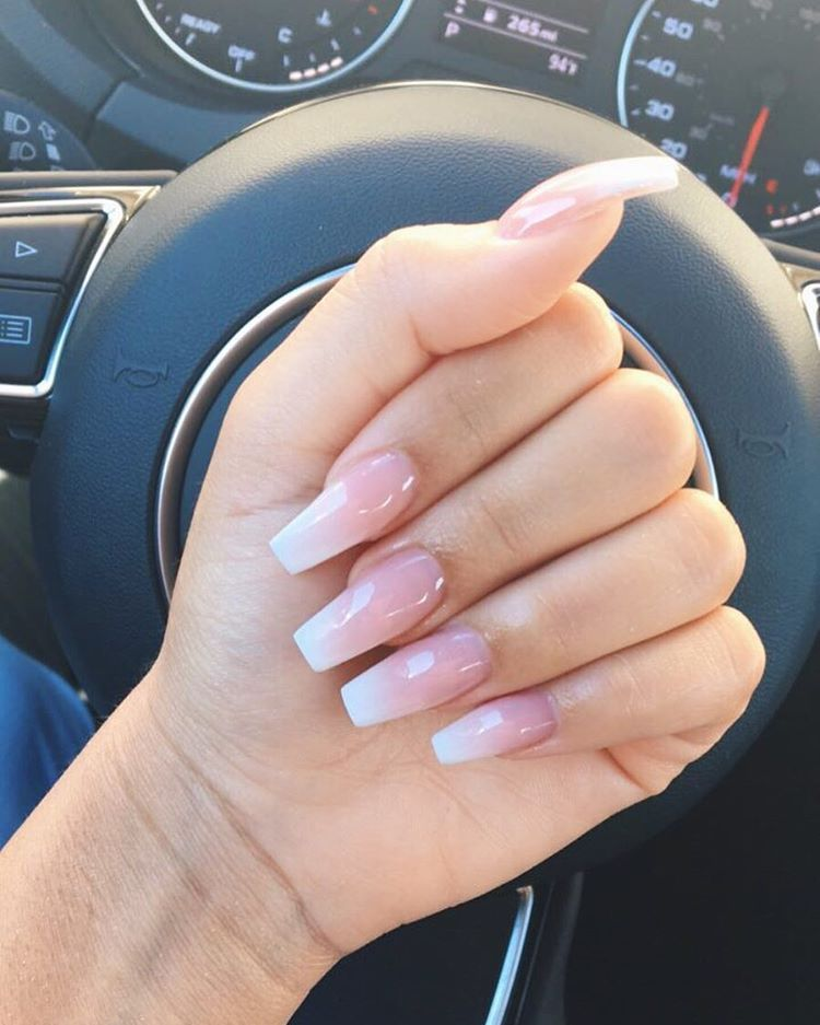 Pink and white acrylic nails pinterest