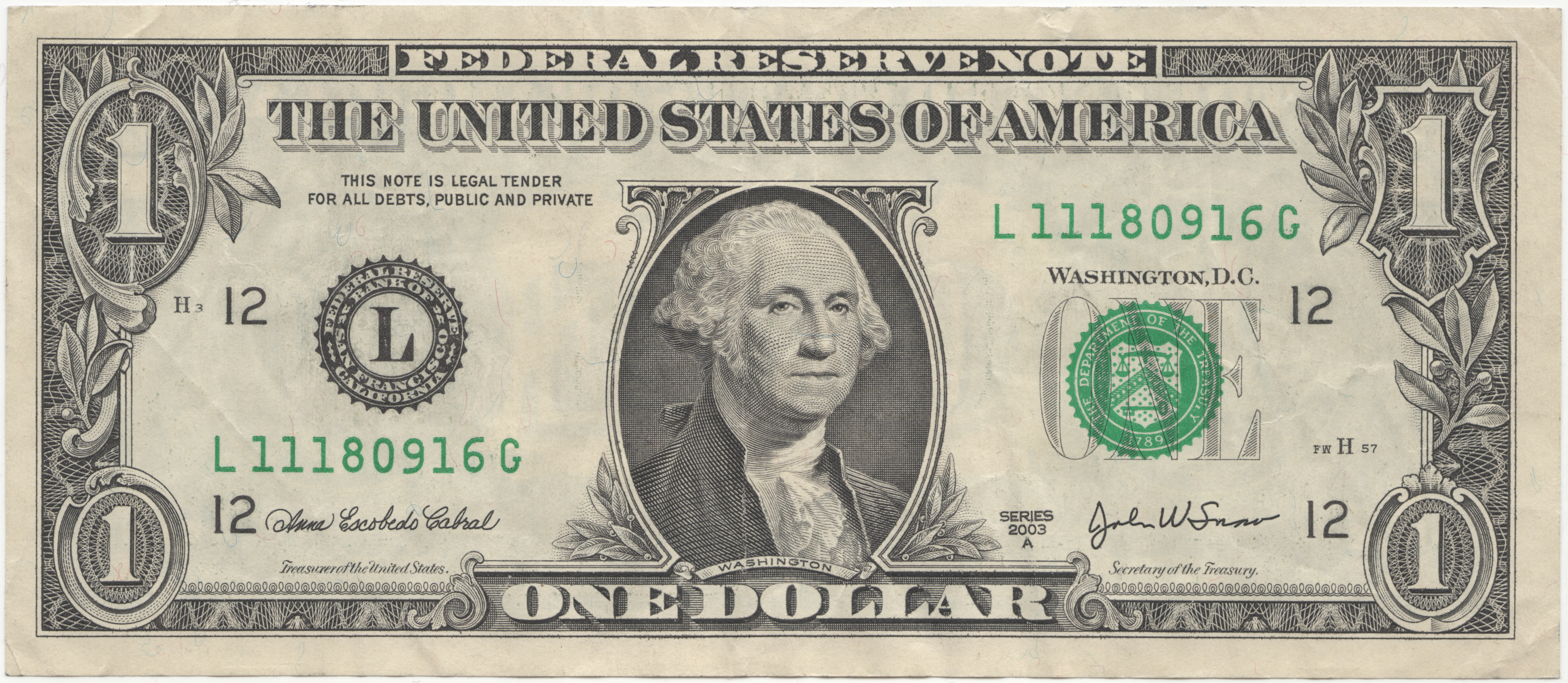 English: Obverse of United States one dollar bill, series 2003.