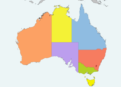 Australia map. Western Australia in the west third with capital Perth ...