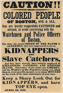 """An April 24, 1851 poster warning the """"colored people of Boston"""" about ..."""