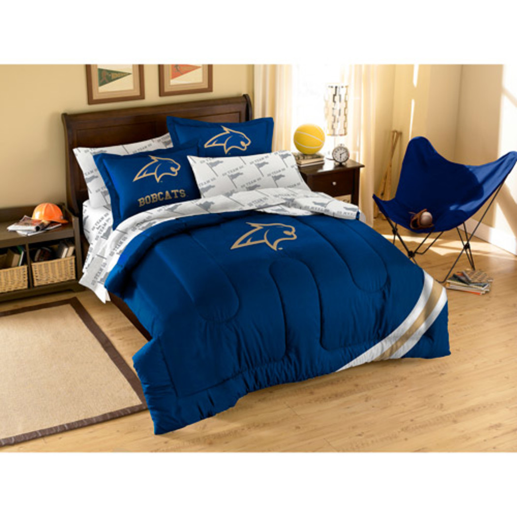NCAA Bobcats Comforter Sheets Full Set Blue Gold Sports Patterned Collegiate