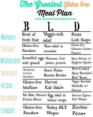 The Greatest Gluten Free Meal Plan - Domestic Mommyhood