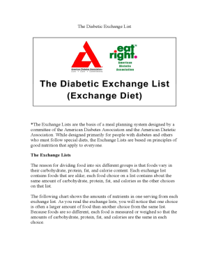 Diabetes Diet Chart - 6 Free Templates in PDF, Word, Excel ...
