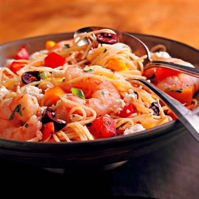 Pasta Salad with Shrimp, Peppers, and Olives Recipe | MyRecipes