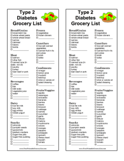 type 2 diabetes grocery list great for people with type 2 diabetes ...