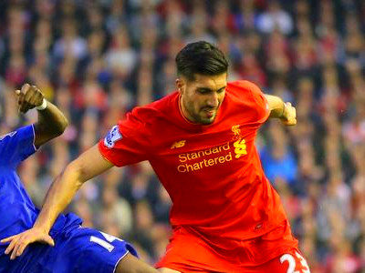 Chelsea's Bertrand Traore and Liverpool's Emre Can battle for the ball ...