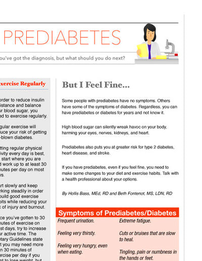 Prediabetes Color Handout Tearpad | $ 27.00 | Nutrition ...