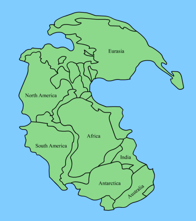 Pangea, the supercontinent. This one is from Wikimedia.com