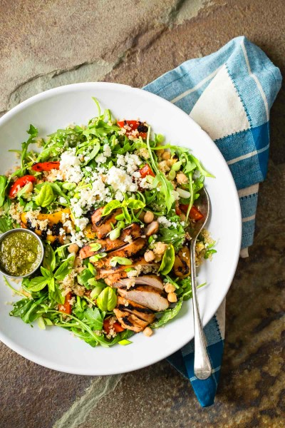 Quinoa Vegetable Salad with Grilled Chicken and Pesto ...