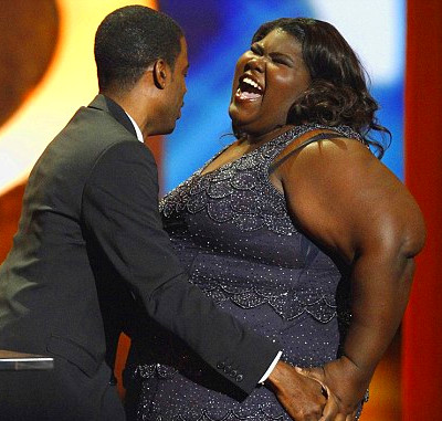 Precious star laughs off embarrassing gaffe about her weight as film sweeps NAACP awards | Daily ...