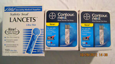Bayer Contour Next Blood Glucose 100 Test Strips Plus 100 ...