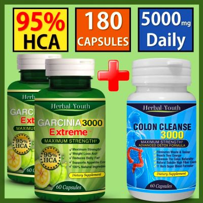 3 x Bottles Garcinia Cambogia 95%HCA Colon Detox Diet Weight Loss Slimming Pills | eBay