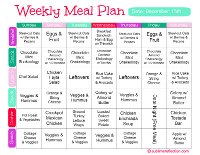Clean Eating Meal Plan 2 - Sublime Reflection
