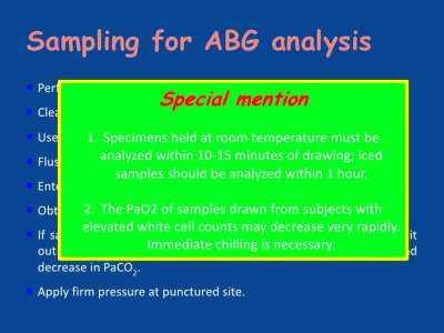 Interpretation of the Arterial Blood Gas analysis